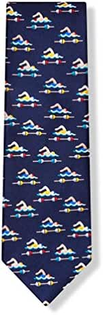 Men's 100% Navy Blue Lap Swimmer Swimming Necktie Neck Tie Neckwear