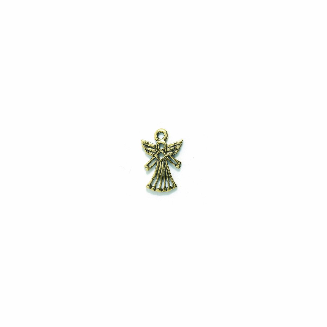 Shipwreck Beads Pewter Angel Charm, Metallic, Antique Gold, 13 by 19mm, 8-Piece PW5582-AG