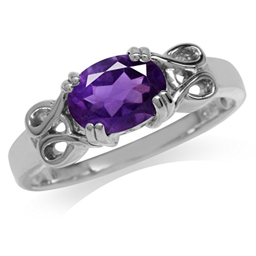 1.40ct. Natural African Amethyst 925 Sterling Silver Solitaire Ring Size 8