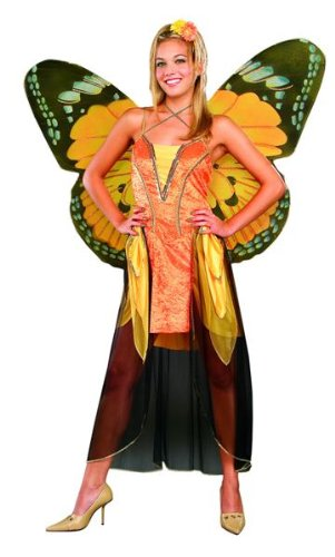 [Adult Orange Butterfly Costume with Wings] (Orange Adult Butterfly Costumes)