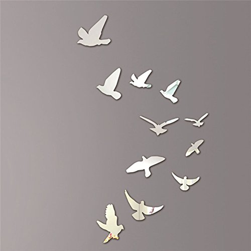 Shiningup Flying Bird 3D Removable Mirror DIY Wall Window Door Sticker