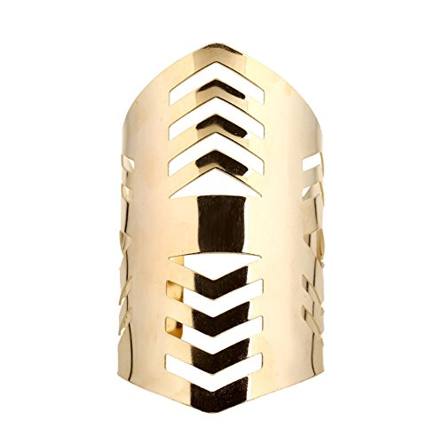 GIONO Vintage Punk Metal Smooth Hollow Openable Bangle Curved Edges Cuff Bracelet Womens (Edge Cuff Bracelet)