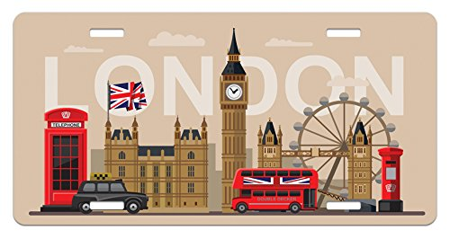 Ambesonne London License Plate, Famous Great Britain Landmarks Monuments Collection Touristic Travel Destination, High Gloss Aluminum Novelty Plate, 5.88 L X 11.88 W Inches, ()