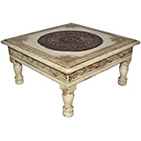 Vintage Handpainted Work Design Wooden Indian Puja Chowki Table 11 X 11 X 5.5 Inches