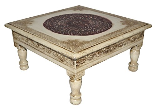 Lalhaveli Vintage Handpainted Work Design Wooden Indian Puja Chowki Table 11 X 11 X 5.5 Inches