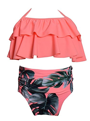 KABETY Girls Swimsuit Two Pieces Bikini Set Ruffle Falbala Swimwear Bathing Suits (Orange, 2-3 Years)