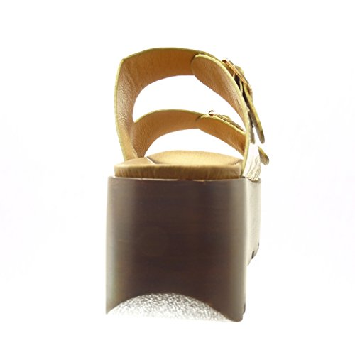 Angkorly - Scarpe da Moda zoccoli sandali zeppe donna tanga fibbia legno Tacco zeppa piattaforma 7 CM - Oro