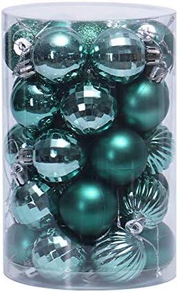 Lunji Bronze Boule de Noel Plastique 34pcs 4cm Boules De No/ël D/éco pour Sapin de No/ël Paillette D/écorations Scintillantes