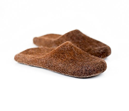 Warm brown slide slippers for men handmade from felted wool Slip in house shoes