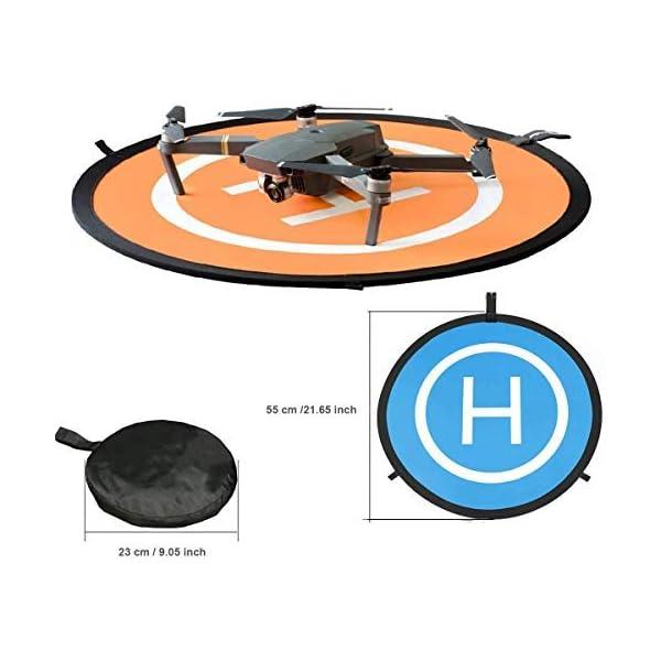 KINGWON 55cm Drone Landing Pad Pieghevole Impermeabile pour DJI Mavic PRO, DJI Mavic Air, DJI Spark, DJI Tello,diamètre de 21,65 pouces 2 spesavip