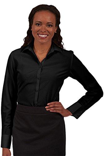 Ed Garment Women'S Batiste French Cuff Blouse Shirt, Black, (Women French Cuff Shirt)