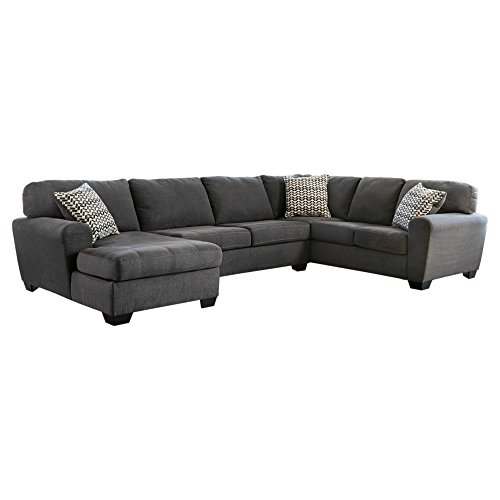 Ashley Furniture Signature Design - Sorenton Contemporary 3-Piece Sectional - Left Arm Facing Corner Chaise, Armless Loveseat, & Right Arm Facing Sofa - Slate (Right Loveseat Sectional)