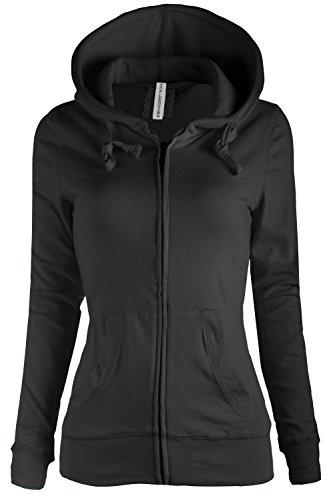 TL Women's Comfy Versatile Warm Knitted Casual Zip-Up Hoodie Jackets in Colors 8447_BLACK, Small