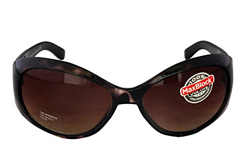 (Foster Grant FG11 Women's Oval Wrap Style Sunglasses Black & Brown Tortoise Shell Plastic Frame & Arms Black Gradient Lenses CAT 3)