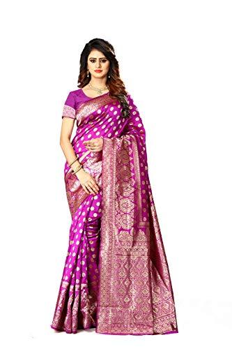 Women's Banarasi Silk Saree Indian Wedding Ethnic Sari & Unstitch Blouse Piece PARI 22 (Pink)
