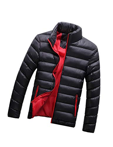 Color Clothing zhxinashu Jackets Cotton Coat Lightweight Black Men's Down Outwear Solid TIIHwvrq