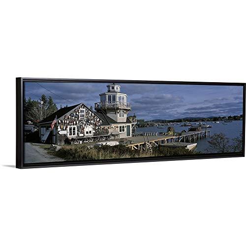 "Floating Frame Premium Canvas with Black Frame Wall Art Print Entitled Bait Shop Mount Desert Island ME 36""x12"""