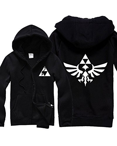 The Legend of Zelda Link Hooded Coat Cosplay Costume (Unisex:X-Large, Black) (Costume Zara Slim)