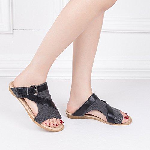Toile Respirant Femme Tongs Été Chaussures 36 43 Chaussons Casual Juleya Pantoufles Chaussures L'automne Printemps Peep Noir Plate Toe Plage 840zx