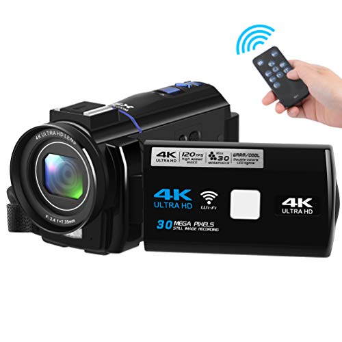 Video Camera Camcorder 30MP 60FPS 4K Camera Ultra HD WiFi Digital Camera Camcorders with Dual Fill Light and Macro Function and 16X Digital Zoom