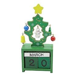 MomePretty Christmas Ornaments 1PC Christmas Creative Gift Wooden Calendar Santa Snowman Calendar Decoration Home Tabletop Decor -14.5x8x4cm (E)