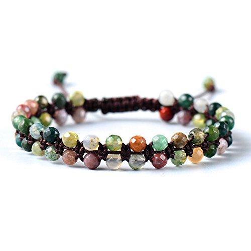 [Handmade Beaded Bracelet with Indian Agate Colorful Beads - Adjustable] (Indian Beaded Bracelet)