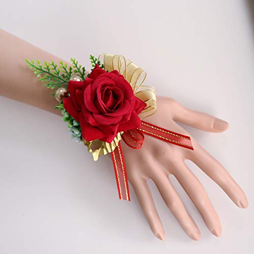 (Febou Wedding Wrist Corsage 2 Packs Velvet Roses Wrist Flower for Wristband Hand Flower for Bride Bridesmaid Perfect for Wedding, Prom, Party (Wrist Flower, K-Red))
