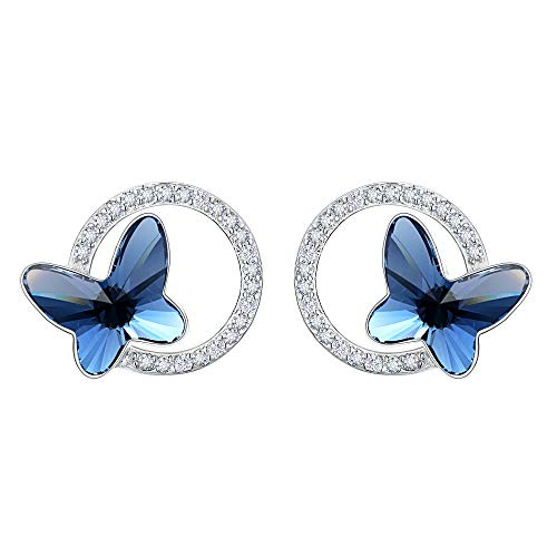 EleQueen 925 Sterling Silver CZ Butterfly Circle Stud Earrings Denim Blue Made with Swarovski ()