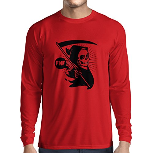 Long sleeve t shirt men Death with sickle, the grim reaper - Halloween outfits, cosume ideas (X-Large Red Multi Color) (Couple Cosumes)
