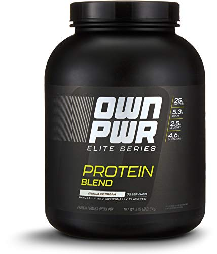 Amazon Brand - OWN PWR Elite Series Protein Powder, Vanilla Ice Cream, 5 lb, Protein Blend (Whey Isolate, Milk Isolate, Micellar Casein) by OWN PWR