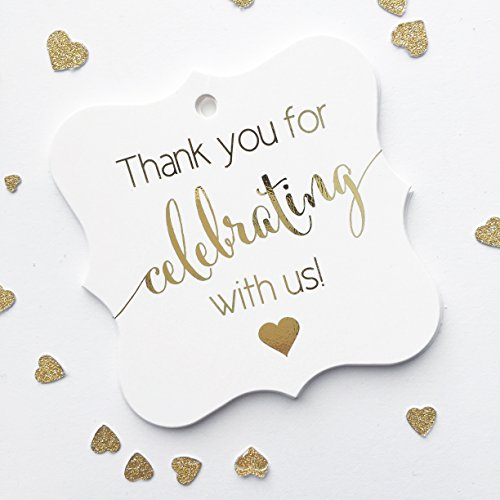 Wine Party Invitation Wording (Gold Foil Party Favor Tags, Thanks for Celebrating with Us for Birthday, Wedding, Graduation, any Occassion (FS-362-US-G))