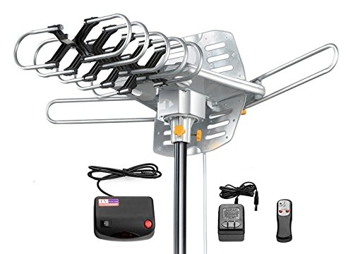 - Amplified HD Digital Outdoor HDTV Antenna 150 Miles Long Range with Motorized 360 Degree Rotation, UHF/VHF/FM Radio with Infrared Remote Control