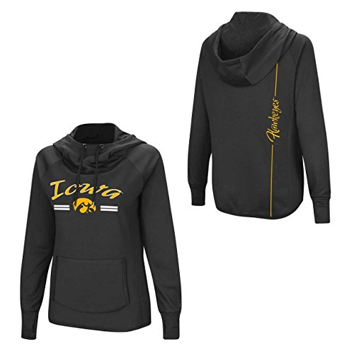 Colosseum Iowa Hawkeyes Womens NCAA Funnel Neck Hooded Sweatshirt - Black, Womens Small ()
