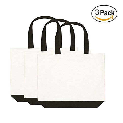 Canvas Bags, 3 Pieces Multipurpose Cotton Canvas Tote Bags,Washable Canvas Shopping Bags, Reusable Grocery Cloth Bag for Crafting and ()