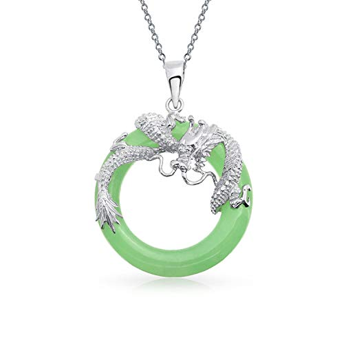 Asian Style Open Round Circle Disc Dyed Green Jade Dragon Pendant Necklace for Women 925 Sterling Silver 18 Inch ()