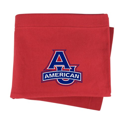 (CollegeFanGear American University Red Sweatshirt Blanket 'Primary Mark')