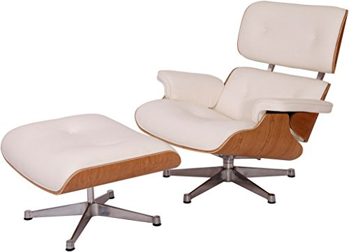Leather Oak Ottoman - EMODERN FURNITURE eMod - Eames Lounge Chair & Ottoman Plywood White Aniline Leather White Oak Wood Veneer