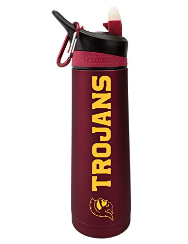 The Fanatic Group University of Southern California Dual Walled Stainless Steel Sports Bottle, Design 2 - Burgundy