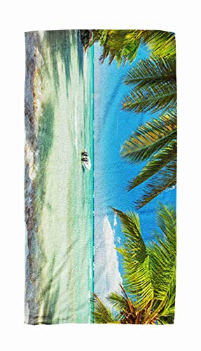 EMMTEEY Bath and Beach Towel,Panoramic Ocean Palm Tree Trees on Luxury Exotic Beach 30x60Inch Microfiber Oversized Large Quick Dry Swimming Pool Towel,Silver Black