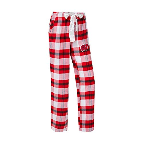 Concepts Sport University of Wisconsin Badgers Women's Flannel Pajamas Plaid PJ Bottoms (Medium) ()