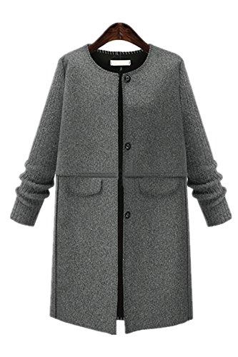 Manches Fonc Blouson Top Taille Manteau Longues Veste Femme Chic New Gris front Longue Grande wqOnROB0