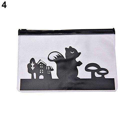 Grey990 Creative Pencil Pen Case Cosmetic Bag Transparent Plastic Zipper Makeup Pouch Holder Toiletry Container Squirrel