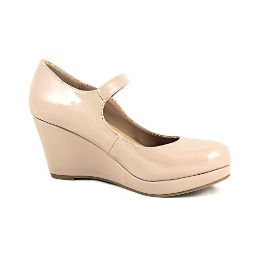 City Classified Womens Mark Thomas Mary Jane Strap Comfortable Office Dress Platform Wedge Heel MVE Shoes, mve Shoes Mark dk Beige pat Size 10 ()