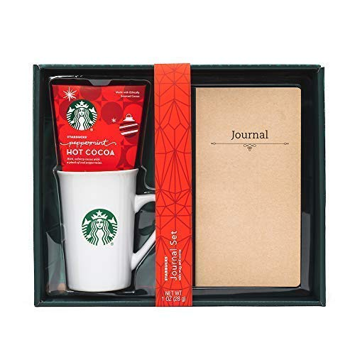 Starbucks Hot Cocoa with Mug and Journal Set | Includes Starbucks Peppermint Hot Cocoa Mix, Reusable Ceramic Starbucks Mug and Notebook