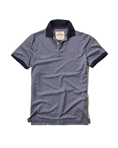 Hollister Men's Polo Shirt T Shirt (Medium, Navy #201)
