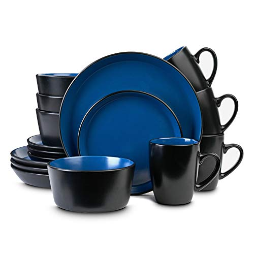 Stone Lain Stoneware Dinnerware Set, Service For 4, Blue and Black