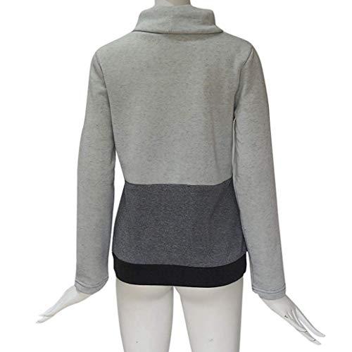 Da Lunga Marca Lunghe V Block Manica Color De Scollo Con Giacca Grau A Donna Maniche Mode 8nwk0OP