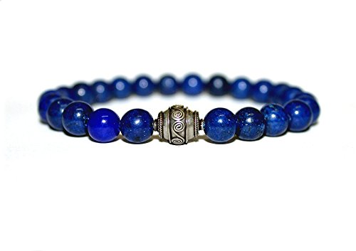 Men's Blue Lapis Lazuli and Sterling Silver Bali Bead Bracelet