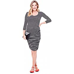 Women's Maternity Stripe 3/4 Sleeve Dress