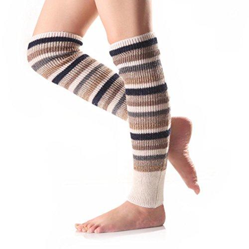 Kolylong®Frau Stulpen Frau Warme Klassische Streifen Kämpfen Farbe  Legwarmer Und Socken Beige WTdFslNy